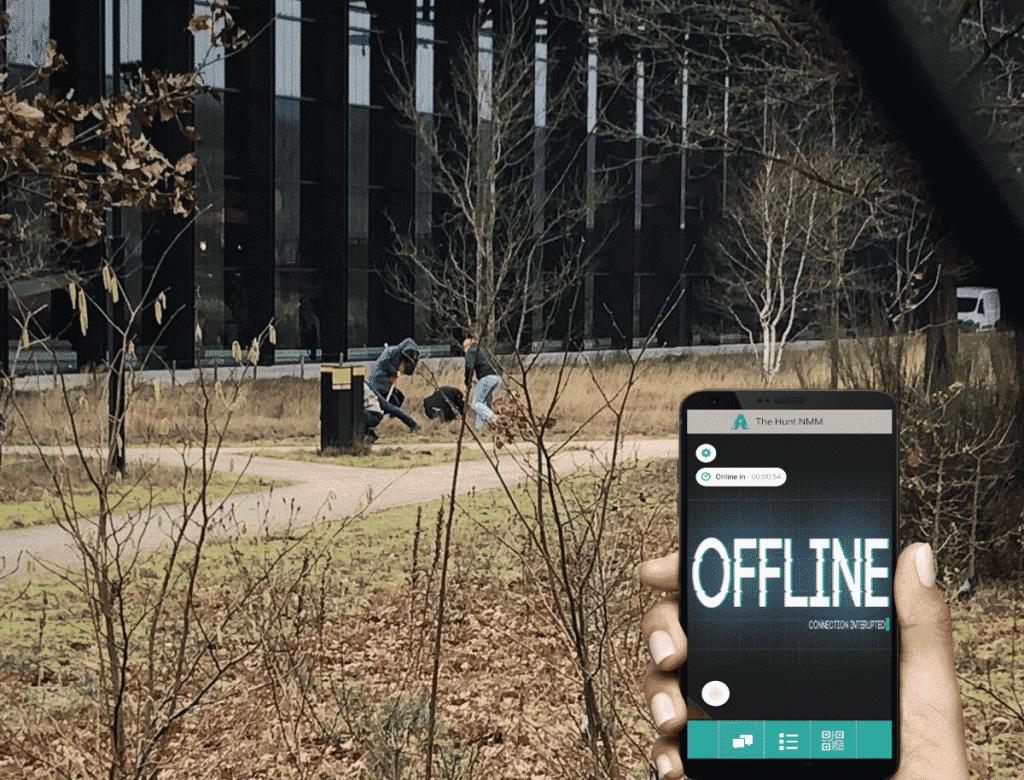 Hunt offline met hand